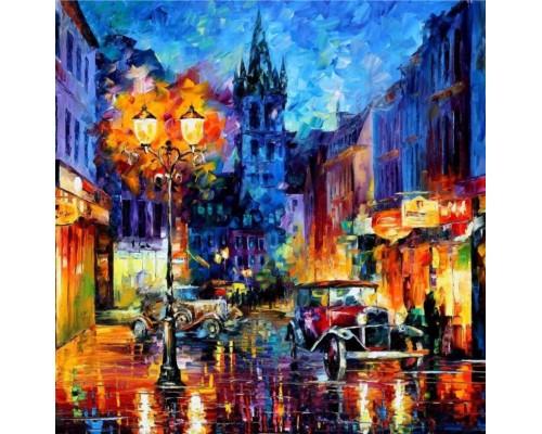 Алмазная мозаика Вечерний город, 40*50 см, без подрамника, частичная выкладка