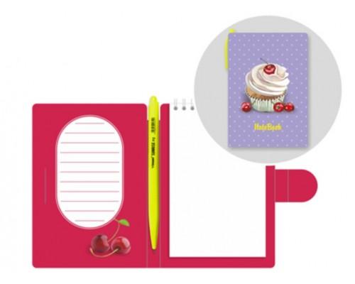LAMARK0114 Блокнот с ручкой Sweet Cherry, 105х150 мм, авт.ручка OilPen, вн.блок на спирали