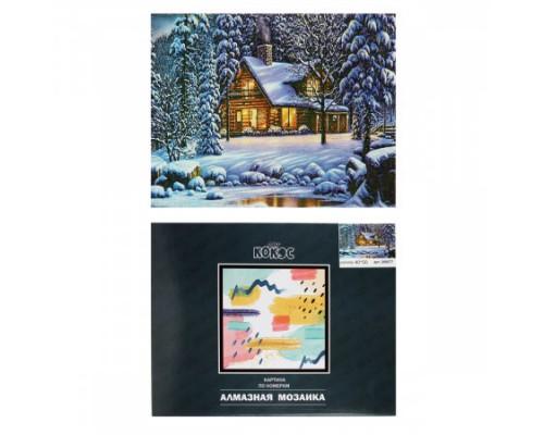 Алмазная мозаика 40*50см КОКОС Зимний пейзаж полная выкладка холст на подрамнике 209577