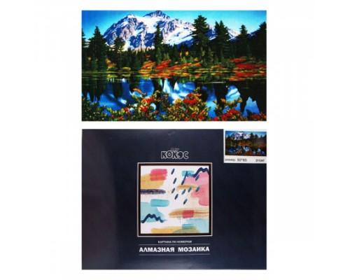 Алмазная мозаика 50*65см КОКОС Горный пейзаж полная выкладка холст на подрамнике 211247