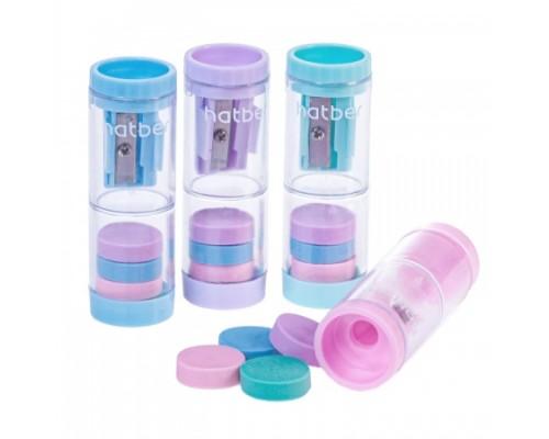 Точилка Hatber NEWtone 2 in1 Пластиковая Цветная с контейнером с ластиками Ассорти